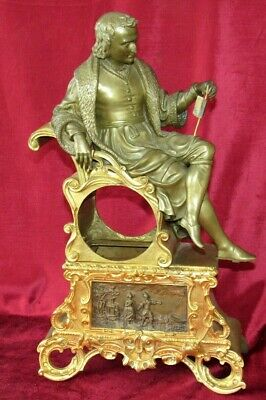 Large Antique French Ormolu & Bronze Clock Case With Seated Figure