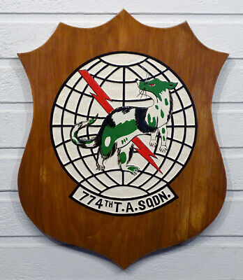 1960's VIETNAM WAR Vintage 774th TACTICAL AIRLIFT SQUADRON Wooden Wall Plaque