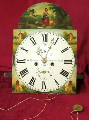 English Antique Hand Painted Arched 8 Day Grandfather Clock Movement & Dial