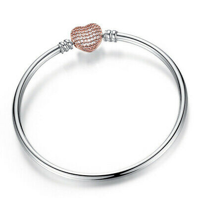 Women's Fashion Rose gold Heart Clasp Bangle Bracelet for European Charms Beads