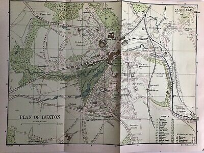 BUXTON 1903 Original Antique City Map Bartholomew, Peak District, England