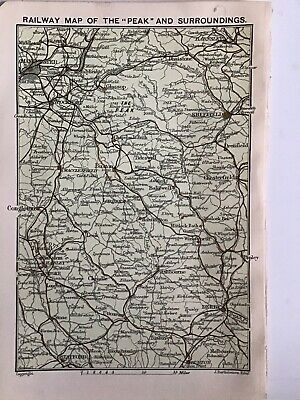 Railway Map Peak District 1903 Original Antique County Map Bartholomew England