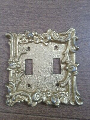 Gold Tone Metal Light Switch Cover Plate Gothic Victorian Mid Century Edmar Vtg