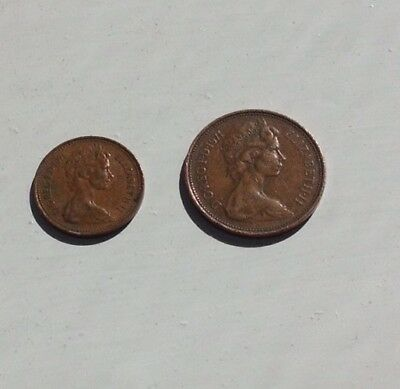 ELizabeth II One New Penny And 2 New Pence Coins 1971.  Fair Condition