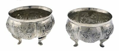 Pair Antique Burmese Fine Silver Repousse Animal Plant Footed Incense Burners