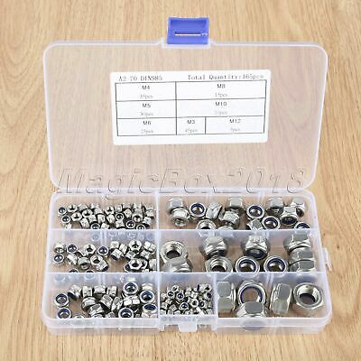 Stainless Steel Inserted Hex Lock Nuts Screw Fastening Assortment Mixed Kit