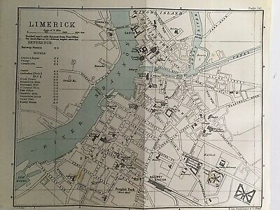 LIMERICK 1894 Original Antique City Map Bartholomew, Ireland