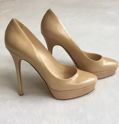 immy Choo Nude Beige Black Leather Cosmic Pumps SZ 35