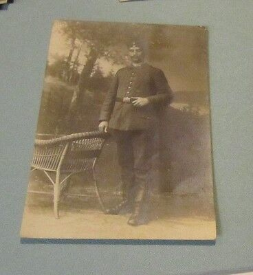 WWI Eastern European Army Soldier Posing in Full Uniform RPPC Photo Postcard