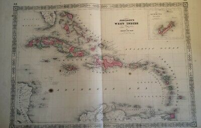 1864 Antique Map Johnson's West Indies Hand Colored Cuba Bermuda Caribbean