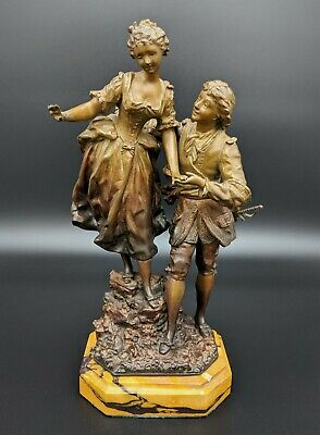 Antique Signed Rancoulet Victorian Courting Couple Bronzed Metal Sculpture
