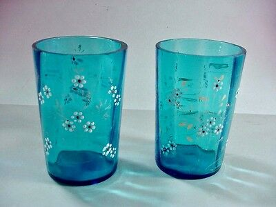Pair of Antique Victorian Blue / Teal Glass Hand Painted Juice Lemonade Glasses