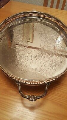 Large Vintage Silver Plate Serving Tray EPNS Gallery 1.3kgs 46cm x 35cm