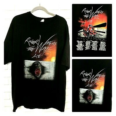 The Wall Live Roger Waters Concert T Shirt Black Cotton Pink Floyd Tee 2XL