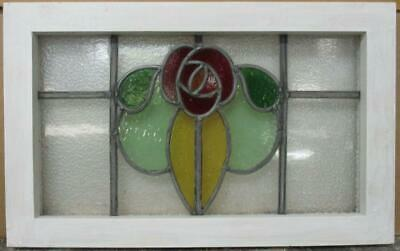 "OLD ENGLISH LEADED STAINED GLASS WINDOW Gorgeous Floral Design 20.25"" x 12.75"""
