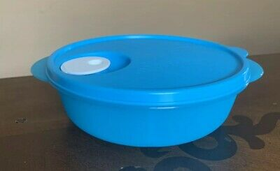 Tupperware New Microwave Lunch Bowl Divided Dish Vented Blue 4 Cups