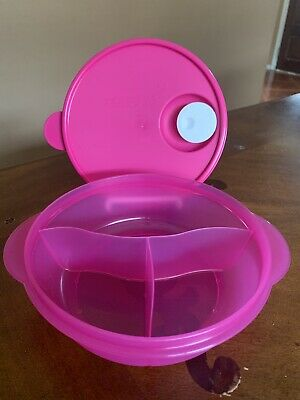 Tupperware New Microwave Lunch Bowl Divided Dish Vented Pink 4 Cups