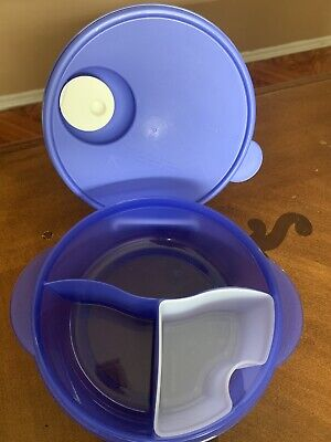 Tupperware New Purple Microwave Lunch Bowl Divided Dish Vented & Cold Cup 4 Cups