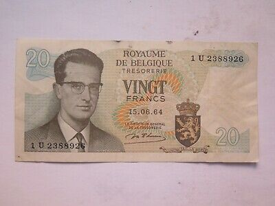 Belgium 20 Francs Banknote 1964 Very Nice Collectable Condition
