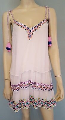 White Silk Tassel India Tiered Dress Sz S Blue PInk Yellow Green Embroidery
