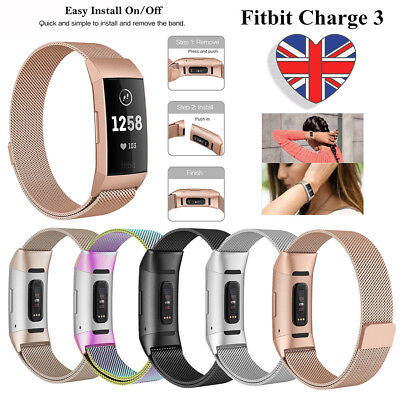 For Fitbit Charge 3 Metal Strap Replacement Band Rose Gold Silver Black Milanese
