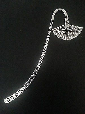 New Antique Silver Metal Bookmark with Chinese Fan Shape Charm Accessory Gift