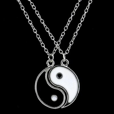 Yin Yang Best Friend Pendant Necklace 2 Pieces White And Black BFF Party Jewelry