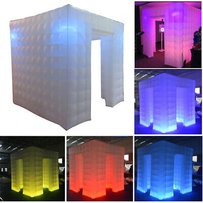 Inflatable Cube Photo Booth Air Tent w/ LED Lights and Blower LARGE 2.25x2.25m
