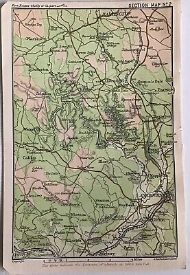 Peak District 1903 Original Antique County Map Bartholomew, Ashbourne Hartington