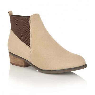 Ladies Dolcis British Design Janet Sand Chelsea Memory Foam Flat Ankle Boots