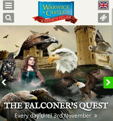 Warwick Castle E-Tickets x 4 for Sunday 28/07/19, 28th July 2019