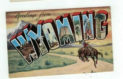 """WY Wyoming antique linen post card BIG LETTERS """"Greetings from..."""