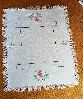 """Antique Cross Stitch Embroidered  Dresser Scarf/Table Runner Homemade 18"""" X 14"""""""