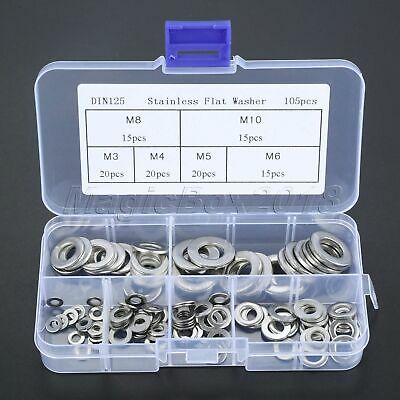Stainless Steel Silver Washers Gasket Ring Pad Repairment Assortment 105PCS