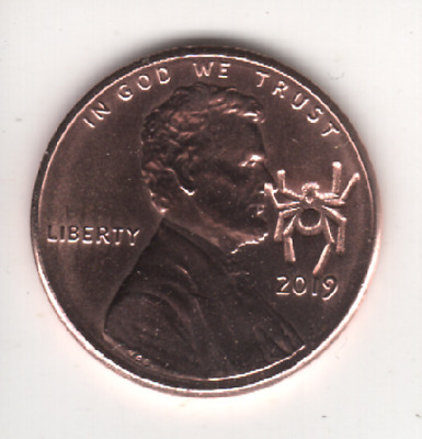 2019 Lincoln Cent LUCKY SPIDER Counterstamp Keepsake Collector Penny Coin CS2119