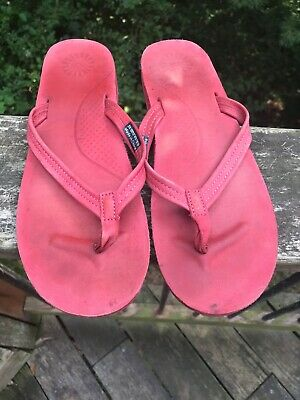 9daf9b9feac UGG AUSTRALIA 'KAYLA' Red Leather Flip Flop Thong Sandals - Women's Size 10