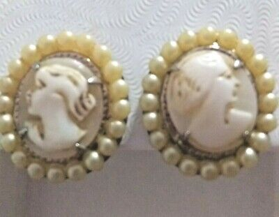 Antique women earring silver screw back hand carved cameo pearl 1""