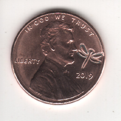 2019 Lincoln Cent LUCKY DRAGONFLY Counterstamp Keepsake Collector Penny # CS2719