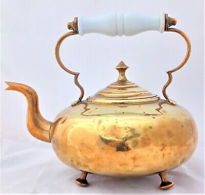 Antique Victorian Brass Teapot Toddy Kettle Opaque Glass Handle James Clews 1890