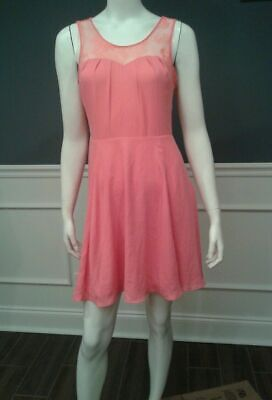 Express dress size 4 coral pink sleeveless lace crossover NEW SISLOU B26