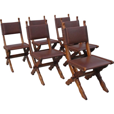 French Antique Rustic Oak Dining Chairs
