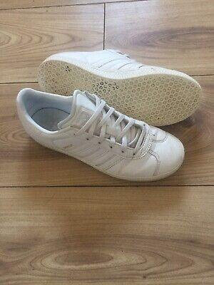 Adidas Gazelle Trainers Womens Girls Size 4 White Gold Sports Casual Fashion