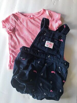 Carters Baby Girls Overall Shorts Shirt Set outfit 6 Months Daddys Girl Nautical
