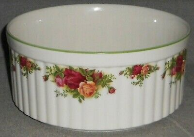 """Royal Albert OLD COUNTRY ROSES - COUNTRY BAKEWARE 8 3/4"""" Ribbed SOUFFLE BOWL"""