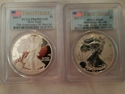 2012-S Silver Eagle & Reverse Proof 75Th Anniversary Set Pcgs Pr69/Pr69Dcam