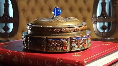 Chinese Antique Tea Caddy Box Repousse Bronze Enameled Relief GLASS LINED
