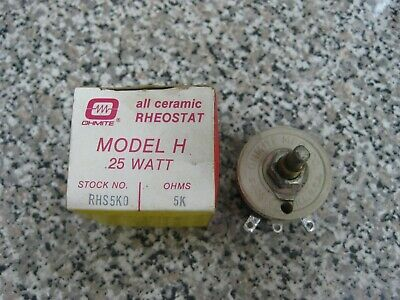 New Ohmite RHS5K0 Model H 25-Watt 25W 5K Ohms All Ceramic Rheostat Free Shipping