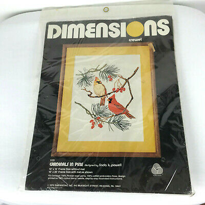 """New Sealed 1979 Vtg Dimensions 12"""" X 16"""" Cardinals In Pine Crewel Kit 1131 USA"""