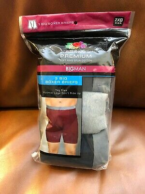 Fruit of the Loom Men's Big & Tall 3-Pack Boxer Briefs Gray & Black 2XB 46-48