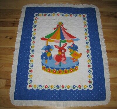 Baby Infant Nursery Comforter Quilt Blanket primary bunny duck dog carousel lace